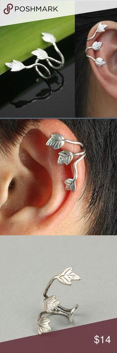 Leaf Inspired Silver Ear Cuff Stylish and classy ear cuff in silver. Add a bit of pizazz to your look. Each persons ear is a different size, the cuff might need to be squeezed/adjusted to fit your ear! Jewelry Earrings