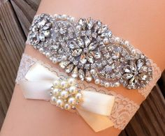 Wedding Garter / Pearl Rhinestone Wedding by SimplyKateGrace