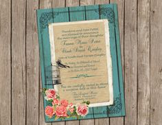 Shabby Chic, Vintage,Bird Cage, Rose, Wedding Invitation ,Rustic, Turquoise Wood, Digital file, Printable on Etsy, $13.00