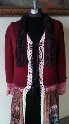 Refashioned Women's Funky Reconstructed Long Sweater Coat * OOAK! * Size Medium *