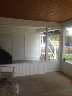 Here another v grooved ceiling beneath the Trex Rain Escapes waterproofing system.  This allowed us to build a great private screen porch beneath the deck as well as a storage room for garden supplies.