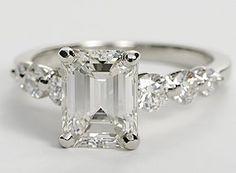 Floating Diamond Engagement Ring in Platinum (3/4 ct. tw.) Emerald Cut 2.63 ct Diamond
