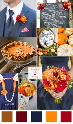 Orange navy blue wedding colour palette for Autumn wedding orange navy blue wedding color palette. I like it minus the pumpkins Fall Wedding Flowers, Fall Wedding Colors, Wedding Color Schemes, Blue Wedding, Trendy Wedding, Dream Wedding, Wedding Day, Navy Orange Weddings, Wedding Inspiration