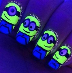 Minions are the best just like these nails are the best Nail Polish Designs, Cute Nail Designs, Cute Nails, Cute Nail Art, My Nails, How To Do Nails, Pretty Nails, Hair And Nails, Acrylic Nails
