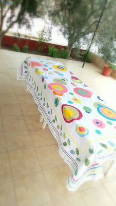 Multi Colored Handpainted Tablecloth / Square Or Rectangular Table Cloth /  Designer Tablecloth/ Custom Colors