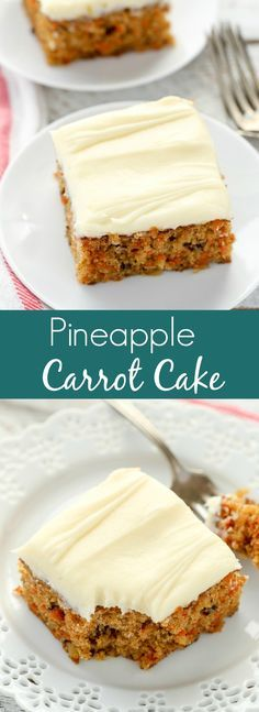 A moist carrot cake filled with crushed pineapple, chopped walnuts, and topped with an easy cream cheese frosting. This Pineapple Carrot Cake is perfect for Easter or carrot cake lovers!
