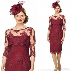 2017 Sexy Mother Of The Bride Dresses Sexy Sheer Lace Applique 3/4 Long Sleeve Jacket Burgundy Sheath Mother Off Groom Dress Knee Length Brides Mother Dress Cheap Mother Of The Bride Dresses Plus Size From Eiffelbride, $97.49| Dhgate.Com