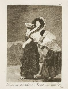 Francisco de Goya - For Heavens Sake and it was her Mother (Etching and Aquatint, 1797-98)
