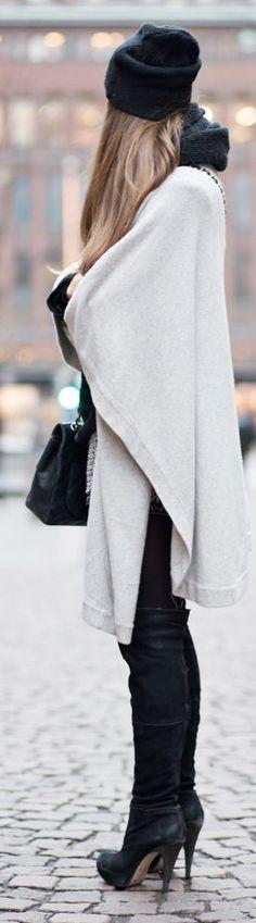 Chic In The City~ Grey Woolen Cape- #LadyLuxuryDesigns