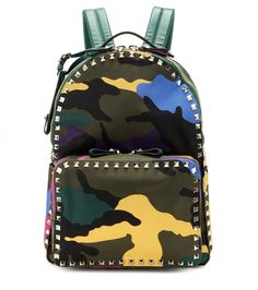 Valentino - Rockstud printed leather backpack - Valentino's luxe backpack is crafted from smooth leather in a supple, multicoloured camouflage print and finished with the label's signature Rockstuds for instant recognition. Swing yours over one shoulder with your daytime ensembles for instant and nonchalant urban cool. seen @ www.mytheresa.com