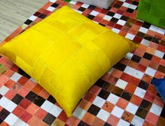 Fur Deco | hair on leather floor pillow in yello color