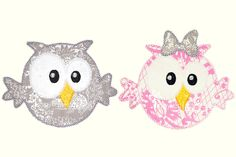 Sweet Boy Girl Owl Applique Design Set. Etsy.