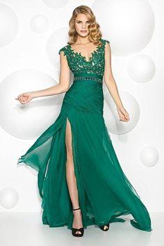 Vestidos de promocion secundaria color verde jade