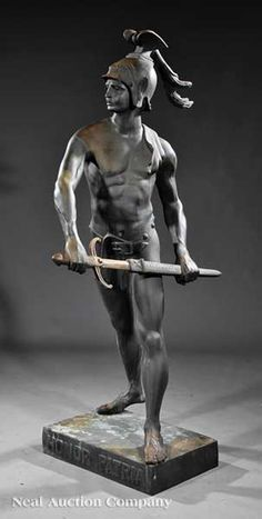 A Patinated Bronze Figure of a Warrior, after Emile Louis Picault (French, 1833-1915