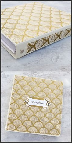 Wedding Planner Book, Wedding Binder Organizer, Gold Fans on Ivory, 3 Ring Binder Style, Size 8x9, {MADE upon ORDER}
