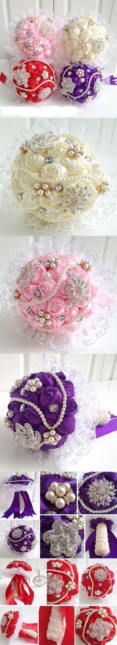 LJ014 Gorgeous Four Color Wedding Flowers Bridal Bouquets Pearl Crystal Artificial Wedding Bouquet 2016 New buque de noiva