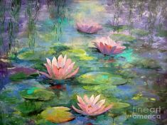 Monet wallpaper water lilies print painting lily pads beautiful ideas on large iphone . Water Lilies Painting, Pond Painting, Lotus Painting, Lily Painting, Acrylic Painting Flowers, Acrylic Painting Inspiration, Garden Painting, Acrylic Colors, Monet Paintings