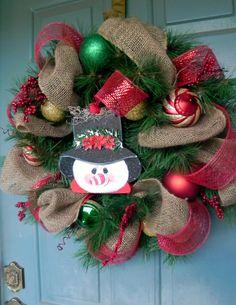 Burlap and Mesh Snowman Wreath
