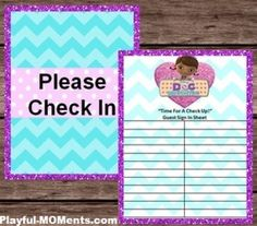 """Thank you for your interest in my printables. When I made these printables I wanted to make them for both pretend play and a birthday party! Birthday Party - I thought it would be cute to put the """"Please check In"""" sign in a frame or hang it up on the wall and the have a clipboard or two (depending on how many guest you have) and then the guests can sign their name on a clipboard just like the doctor's office."""