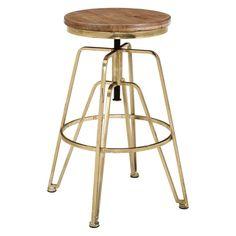 Linon Wood and Metal Adjustable Bar Stool - AMMBRASS1AS