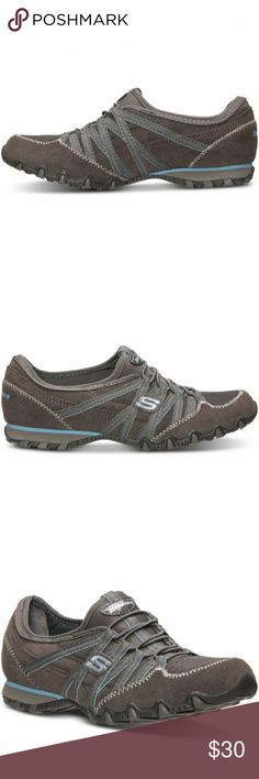 Brand new Schechers Bikers Grey and blue Suede upper casual sneakers with bungee lacing,  soft fabric lining and logo at the side, cushion  insole, flexible rubber insole with traction. Skechers Shoes Sneakers