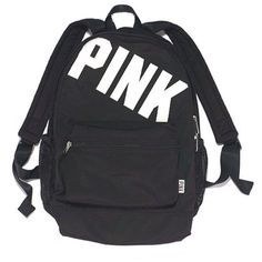 Victoria's Secret Pink Campus Backpack New (Black Animal Print) found on Polyvore featuring bags, backpacks, backpack, victoria's secret, backpacks bags, black backpack, black sports bag y knapsack bags