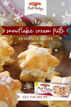 Delight your holiday guests with these 20 Minute Snowflake Cream Puffs - try them with flavored whipped creams or top with a fruit drizzle for a great dessert Christmas Party Food, Christmas Sweets, Christmas Cooking, Holiday Baking, Christmas Desserts, Christmas Tea, Easy Desserts, Delicious Desserts, Dessert Recipes