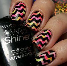 Neon Pastel manicure by @sprinklenails (IG) using our Chevron Nail Vinyls found at snailvinyls.com