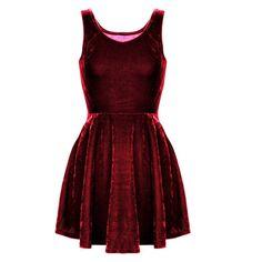 Red Velvet Fit + Flare Sleeveless Skater Mini Dress ($29) ❤ liked on Polyvore featuring dresses, red, vestidos, dark red, dark red dress, short flare dress, short dresses, short-sleeve skater dresses and flared dresses