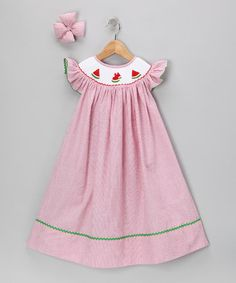 Take a look at this Red Watermelon Seersucker Dress & Clip - Infant by Molly Pop Inc. on #zulily today!