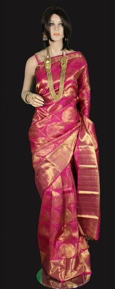 Magenta Pink Zari Checks Kanjeevaram Saree