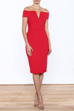 Off the shoulder tube dress with V-neckline. Fully lined with zip back closure. Valentines Day Dresses, Tube Dress, Off The Shoulder, Neckline, Dresses For Work, Closure, Boutique, Zip, My Style