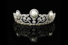 The Murat Tiara - an impressive pearl and diamond diadem created in 1920 by Joseph Chaumet for the marriage of Prince Alexandre Murat to Yvonne Gillois. The tiara boasts one of the largest natural pearls ever recorded, at grains Royal Crowns, Royal Tiaras, Tiaras And Crowns, Royal Jewelry, Fine Jewelry, Gold Jewellery, Antique Jewelry, Vintage Jewelry, Bijoux Art Deco