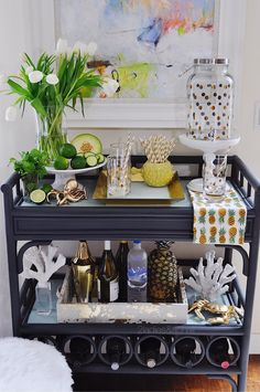 """Check out our web site for additional info on """"bar cart decor ideas"""". It is a great location to learn more. Diy Bar Cart, Gold Bar Cart, Bar Cart Styling, Bar Cart Decor, Merci Store, Canto Bar, Sparkling Punch, Bar Sala, Drink Cart"""