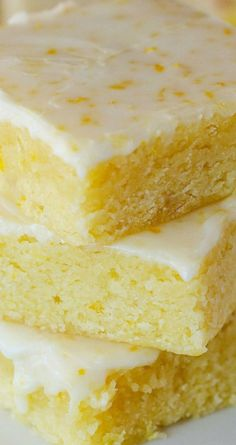 Glazed Lemon Brownies ~ Soft, Moist and delicious