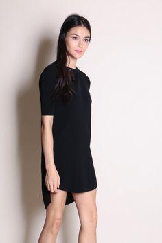 Ribbed Sleeve Dress (Black)  $38
