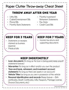 FREE Printable -- what you can toss and what you actually need to keep. Finally get a grip on all that paper! #cluttersolutions