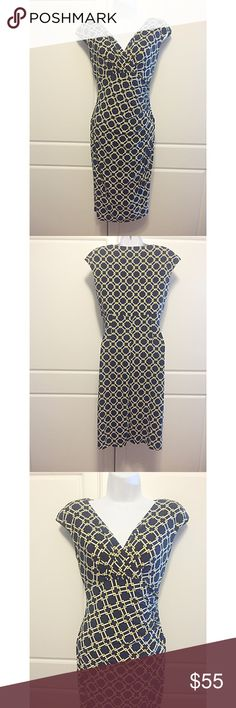 """Ralph Lauren Geometric Print Empire Waist Dress Navy, white, and a touch of yellow in this geometric print dress by Ralph Lauren. Cap sleeves, surplice neckline and and empire waist. Very flattering and perfect for the office. Measurements (not stretched): bust 16"""", waist 13"""", hips 18.5"""", length 36.5"""". Fabric: 95%Polyester/5% elastane. Brand new with tags! Retails for $134. Ralph Lauren Dresses"""