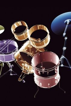 Drums seeming invisible in this special portrait of the kit of many colors - pink, purple, gold. #DdO:) - https://www.pinterest.com/DianaDeeOsborne/drums-drumming-joy/ - DRUMS AND DRUMMING JOY.