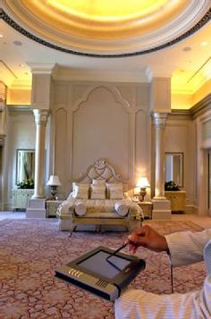 "Abu Dhabi's Emirates Palace Hotel - Decor of the suites and rooms ""blends Arabian regal splendour with the latest technology,"" the Palace says."