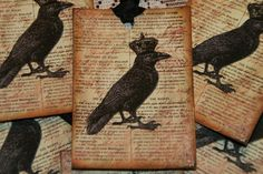 The Crowned Crow Tags / GreenAcresCottage  French, Antique & Shabby Cottage Style Handmade Tags