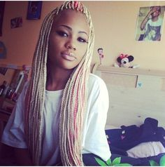 Pink+and+Blonde+Box+Braids | Blonde and pink box braids with weave. I LOVE THESE!!!!! so cute