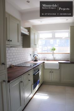 Bespoke Handmade Kitchen sprayed in Farrow & Ball French Grey. The client chose a reclaimed Iroko worktop that was salvaged from a science laboratory. It was finished in an Osmo Wax to bring out the character of the wood. We sell and install kitchens to private clients, get in touch for a quote.