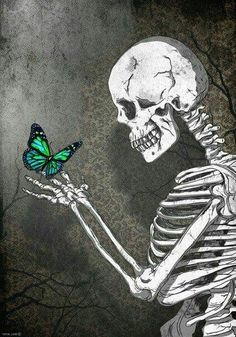 A Skeleton with a Butterfly Skeleton Art, Skeleton Love, Skull Wallpaper, Arte Horror, Anatomy Art, Skull And Bones, Aesthetic Art, Cute Wallpapers, Dark Art