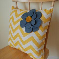 Mustard Yellow Chevron Felt Flower Pillow - Throw Pillow - Decorative Cushion