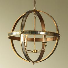 Mr. Brown Galaxy Regency Antique Brass Mirrored Astronomy Pendant | Kathy Kuo Home