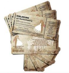 Hochzeitseinladungen als Tickets, 1 € pro Stück