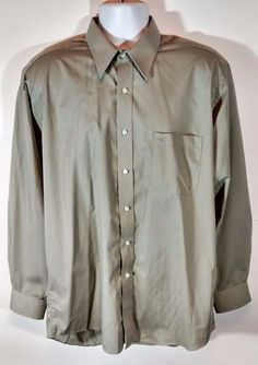 Pierre Cardin Men's Button Up Casual Dress Shirt Gray Size 16 34/35  #PierreCardin