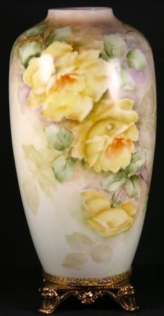 Antique/Vintage German Vase, Hand Painted Rose H&C Selb Bavaria Brass Foot