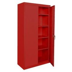 """Sandusky classic series 36""""W x 72""""H x 18""""D storage cabinet with adjustable shelves, red"""